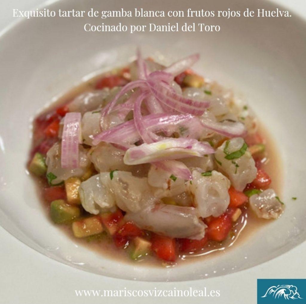 receta de tartar de gamba blanca de Huelva con frutos rojos